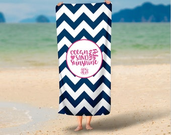 Personalized Micro Fiber Velour Beach Towels- Custom Beach Towel with Monogram, Camp Towel, Bachelorette Favors