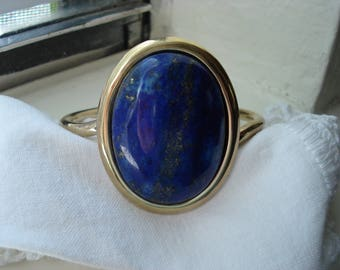 Vintage Gold Genuine Lapis Lazuli Cuff Bracelet Native Tribal Inspired
