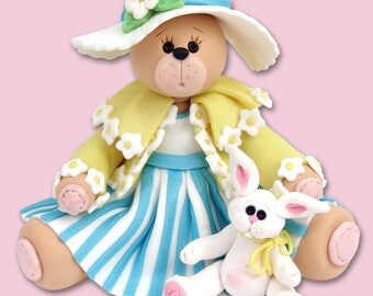 PERSONALIZED EASTER Belly Bear Girl w/Rabbit Figurine Handmade Polymer Clay