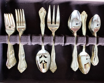 Gold Tone Flatware Set 44 Piece With Case, Vintage Cutlery in Box 13831