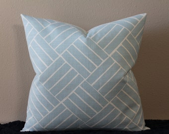 "LuLu DK Aurelain in Light Blue - 16"" - 24"" Square and Lumbar Sizes - Decorative Designer Pillow Cover"