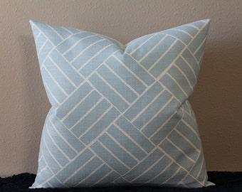 "LuLu DK Aurelain in Light Blue - 16"" - 24"" Square and Lumbar Sizes - Decorative Designer Pillow Cover"