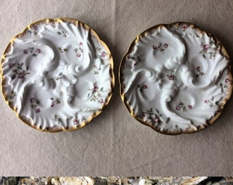 Pair of Antique French Porcelain Oyster Plates - Brocante-Beach House Entertaining