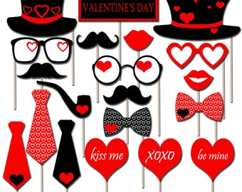 Printable Valentines Day Photo Booth Props, Valentine's Day Photo Props, Holiday Props, Instant Download - DP407