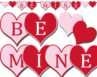 Be Mine Valentine's Day Banner Printable, Photo Prop Banner, Party Decorations, Hearts Banner, Valentine's Day Party Decor - DP420