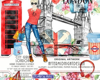 City Girl London - Hip Rockmusic City Clipart Shopping Clipart Fashion Clipart Watercolor Illustration Planner Stickers Hot Red Blue