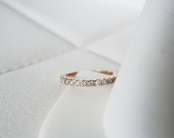 10k Solid Rose Gold Vintage Natural Diamond Antique Genuine Diamonds Art Deco Edwardian birthstone stacking wedding band ring
