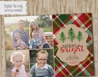 Christmas Photo Card, Holiday Photo Card, Holiday Card, Christmas Card, Glitter Christmas Card, Plaid, Christmas Photo, Holiday Photo