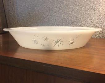 Vintage Starburst Atomic Glassbake Divided Dish