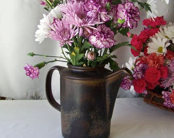 Vintage Stoneware Tea Pot Coffee Pot Vase Pitcher Arabia Made in Finland Brown Glaze Kitchen Decor 1970s