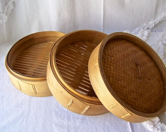 Vintage Bamboo Food Steamer 10 1/2 inch Chinese Bamboo Steamer Vintage 1970s