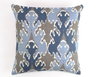 Kelly Wearstler (BOTH SIDES) Bengal Bazaar Pillow Covers in any color (Shown in Grey/Indigo-comes in 6 colors)