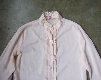 Vtg 70's Light Pink High Collar Ruffled Oxford Peasant Blouse Size Medium Large