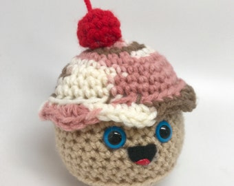 Crochet Cupcake Plush / Happy Cupcake Toy / Cupcake Amigurumi / Kawaii Cupcake / Pretend Food Plush / Ready To Ship