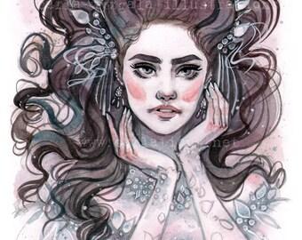 Sarah Labyrinth Masquerade inspired Pin Up watercolor art print Carla Wyzgala Carlations