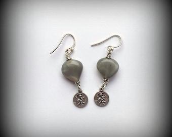 Grey Moonstone Earrings - Our Lady of Perpetual Help Earrings