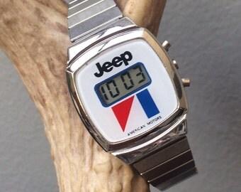 Vintage American Motors Jeep Digital Women's Wrist Watch AMC Made in Hong Kong