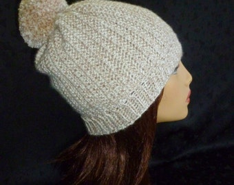 Crochet Slouch Beanie with Pom Pom - Tweed in Light Brown and White