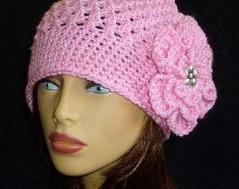 Crochet Slouch Beanie, Jenny Slouch Hat, Slouchy Hat, Winter Fashion, Slouch Beanie, Slouch Hat with Flower - Pink Metallic