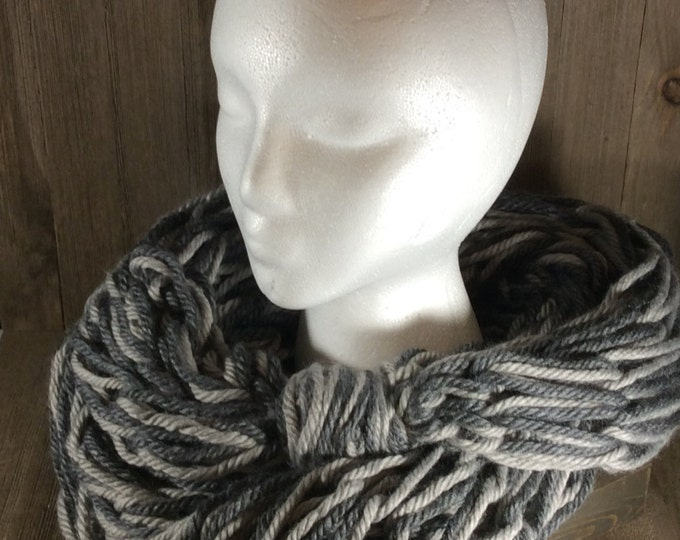 Super Bulky Arm Knit Infinity Scarf ~ Shades of Grey (Chicago Charcoal & Dallas Grey)