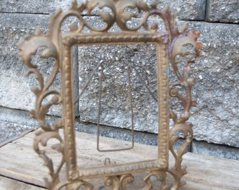 Antique Vintage Solid Brass Rectangular  Picture Frame  Ornate Baroque Fancy Gold Portrait Wedding Florence