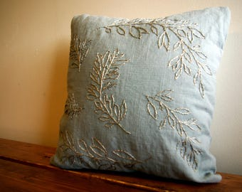 Hand Embroidered Leaf Decor Pillow