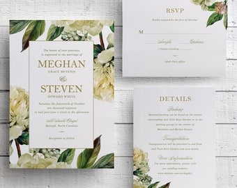 White Floral Wedding Invitations, Greenery Wedding Invitation, Gold and Green, White and Green, Garden Wedding, Wedding Invite
