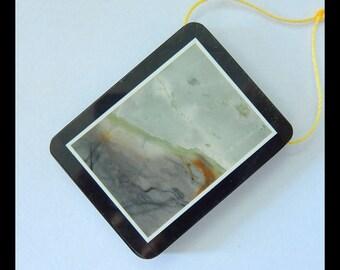 Picasso Jasper,Obsidian ,White Jade Intarsia Pendant Bead,43x33x6mm,21.1g(e0814)