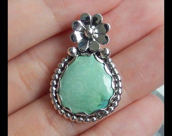 Sterling Silver 925 Turquoise Flower pendant,29x19x3mm,4.3g(e0856)
