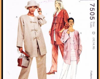 Vintage McCall's 7505 Pattern (Size 12 14 16 ) Misses Unlined JACKET w Pockets TOP & Pull-On PANTS Comfortable Loose Fitting  UNcut