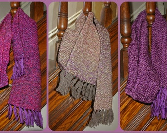 Handwoven Scarf - pinks and purples