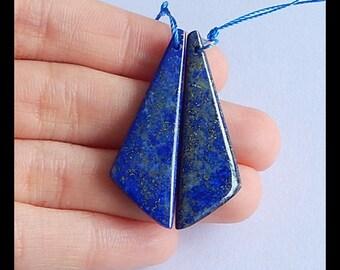 Charm Earring,Natural Stone Lapis Lazuli Earring Bead,39x13x4mm,5.3g