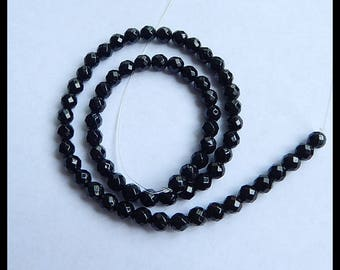 Black Agate Faceted Gemstone Loose Bead,1 Strand,39.5cm In The Length,18.3g