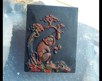 Picasso Jasper,Obsidian Monkey Pendant Bead- Handcarved Pendant -50x39x6mm,25.6g