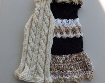 """SPECIAL SALE Two hand knit dog sweaters for the price of one 14"""" long"""