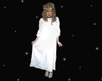 White Cotton Nightgown is a Long White Nightie, Bohemian Nightdress, Plus Size Boho Nightgown and Romantic Sleepwear!