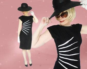 Black Pencil Dress is a Curvy Starburst Dress or 50s Black Wiggle Dress, a Bodycon Sheath, LBD or Minimalist Dress, Mid Length