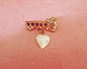 Vintage Heart Brooch - Small 1930s Heart Pin - Ruby Rhinestones - Mother of Pearl Heart - Retro Key to My Heart - Romantic Gift for Her