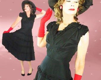 40s Swing Dance Dress - Vintage Black Taffeta Dress - Womens 40s Black Formal Dress - Big Taffeta Skirt - 40s Cocktail Dress - Swing Dancing