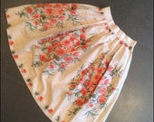 RESERVED // Vintage 1950s Novelty Print Skirt Rose Border Print 50s