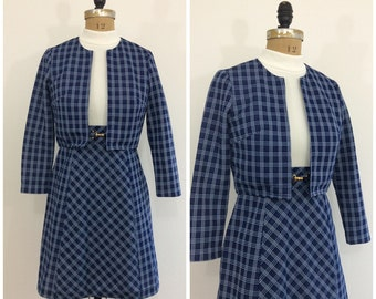1960s Kelly Arden Mod Dress Jacket Set 60s Navy Blue White Scooter Dress Set