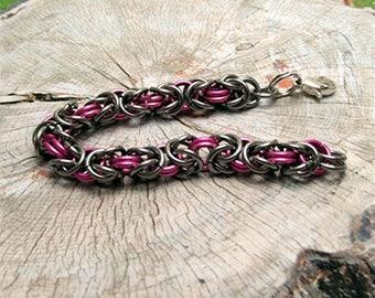 Pink Byzantine Bracelet, Jewelry, Bracelets, Chain & Link Bracelets,  Chainmaille, Medical Alert , Metalic Pink, Facebook, Patternlade