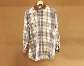 NORTHWEST flannel 90s bright SLOUCHY corduroy collar pattern womens shirt