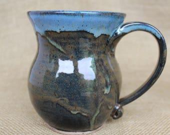Extra large rustic wheel thrown stoneware coffee mug, ready to ship