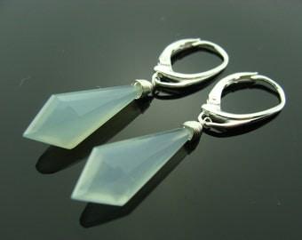 Sky Blue Chalcedony Sterling Silver Leverback Earrings