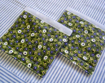 LUGGAGE HANDLE WRAPS Luggage Identifier Tags Purple White Yellow Flowers on Spring Green  One (1) each