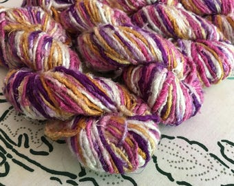 "Recycled Banana Silk Yarn, ""Candy Shop,"" Pink, Purple, White, Bulky, Handspun, 3.5 oz / 100 grams, 40-50 yards, Upcycled, Knit, Crochet"
