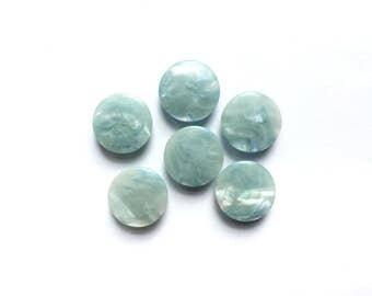 6 Vintage Marbled Blue Buttons
