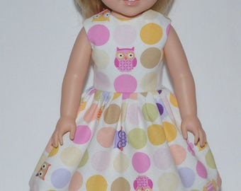Owls and Polka Dots Doll Dress Clothes Made To Fit American Girl Wellie Wisher Doll