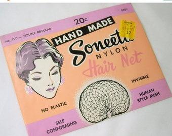ON SALE Vintage Soneeta Nylon Hair Net Hand Made No 490 Double Regular Grey In Original Package NOS